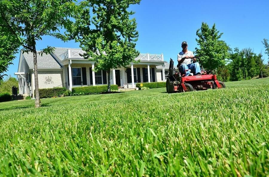 Man on a riding lawn mower