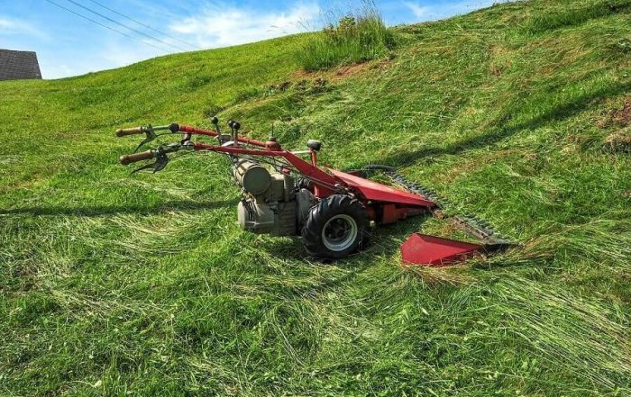 Mower on a small hill