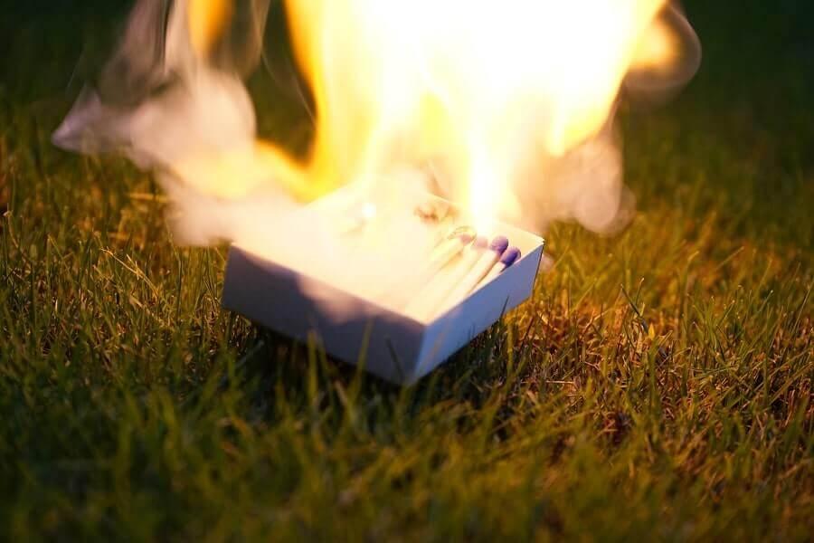 Matches on grass