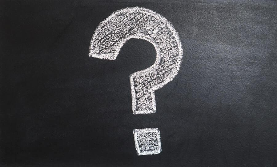 Question mark on a chalkboard