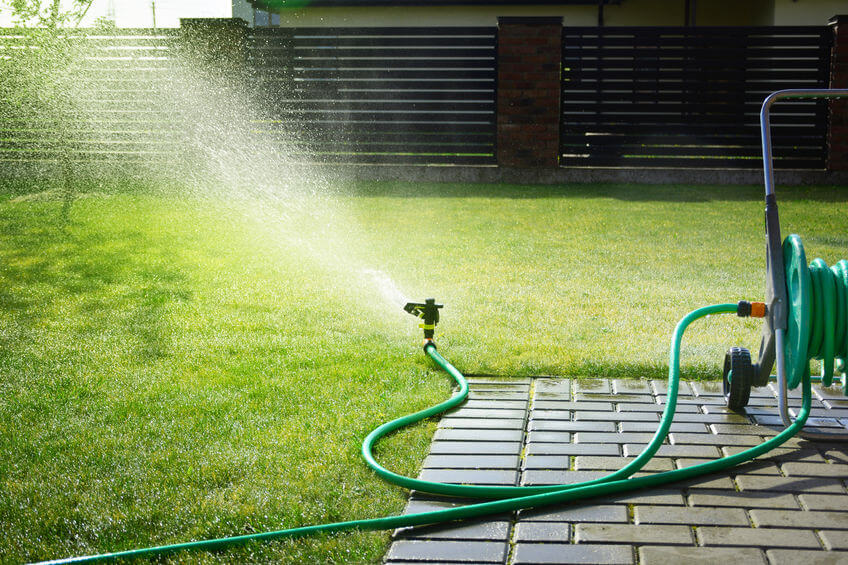 green garden hose sprinkler sprays water over grass