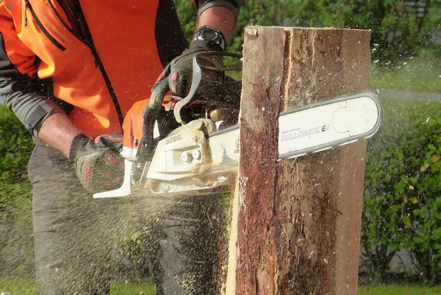 man cutting tress using gas-powered chainsaw