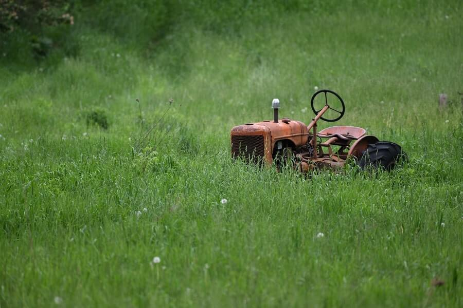 Orange lawn tractor in grass
