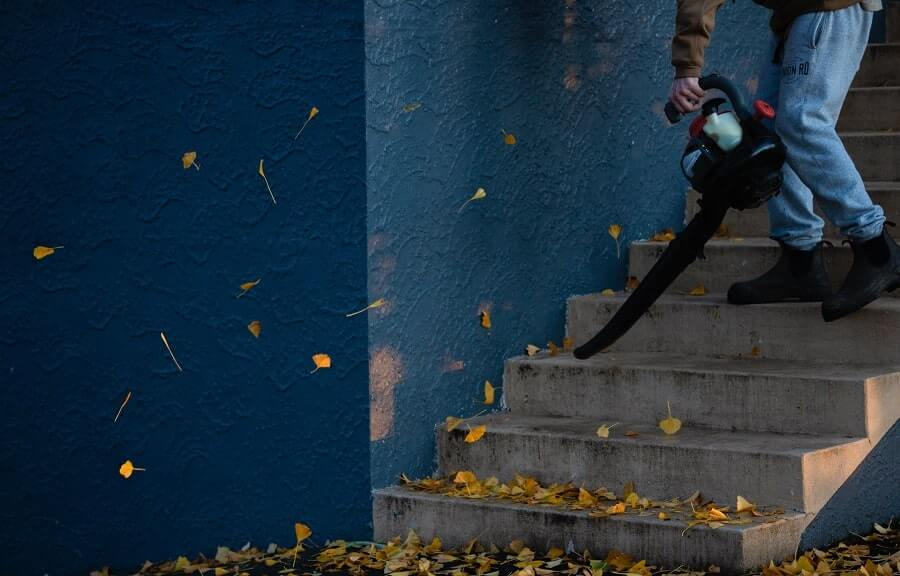 Person on stairs blowing leaves off
