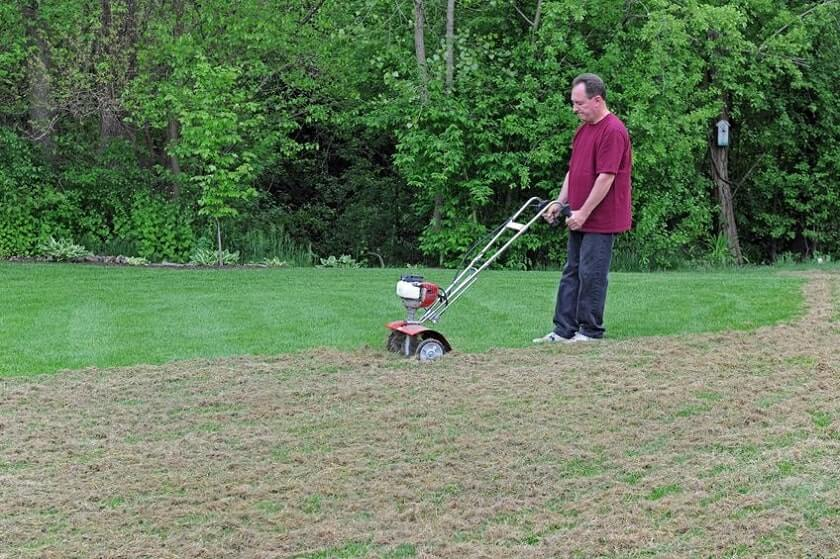 Man dethatching lawn