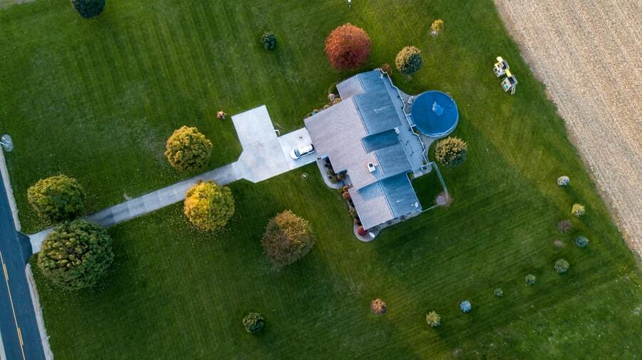 aerial photography of house and striped lawn