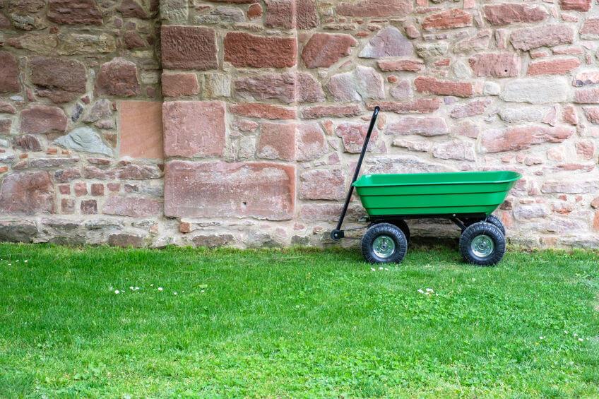 green garden pushcart on the green grass
