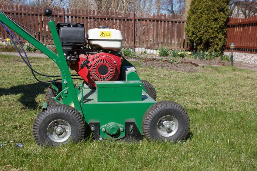 lawn aerator machine in garden
