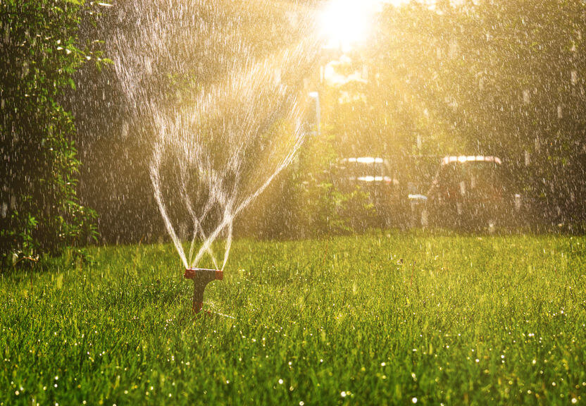 lawn sprinkler working