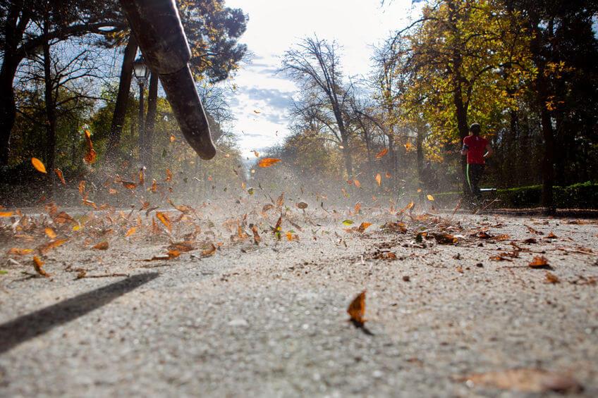 leaf blower working in closeup