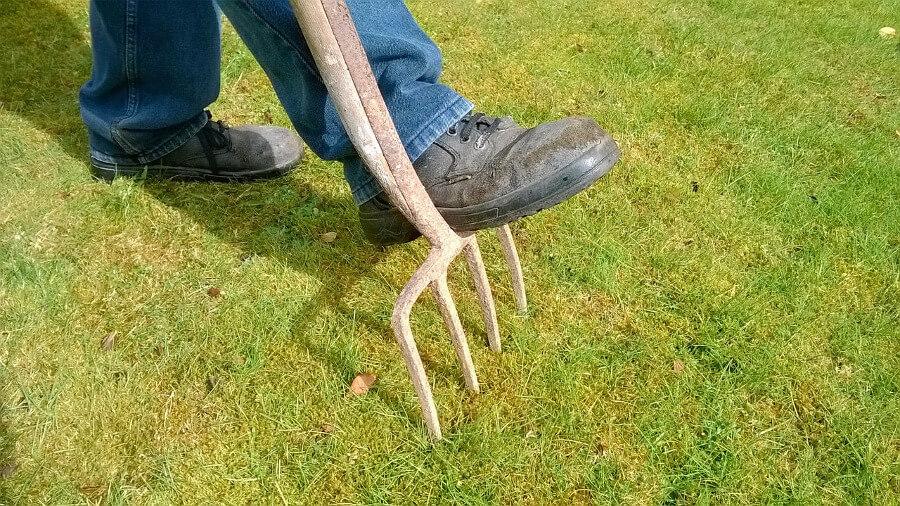 man using garden fork for lawn maintenance