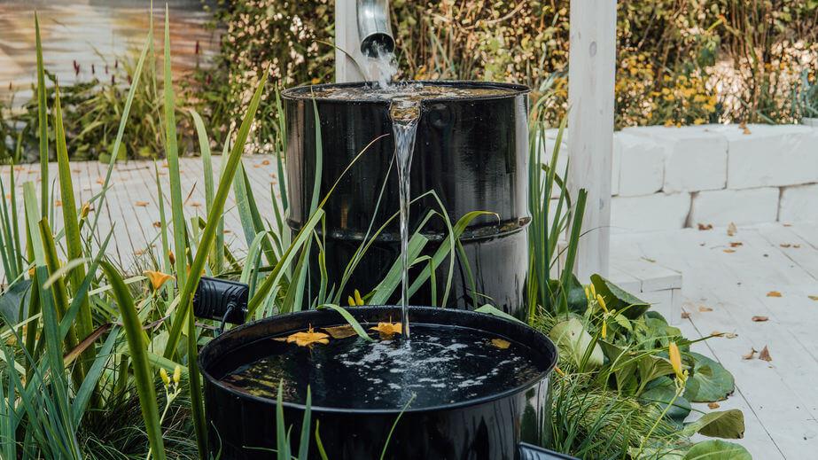 rainwater in black barrels