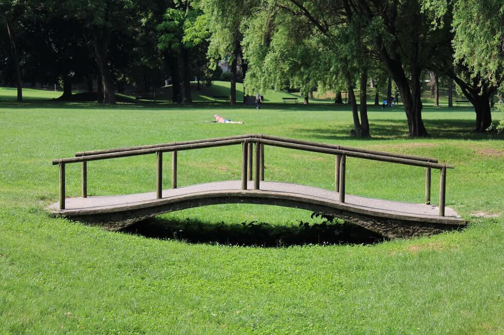 small wood bridge on a lawn